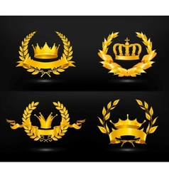Vintage emblem set on black vector image vector image