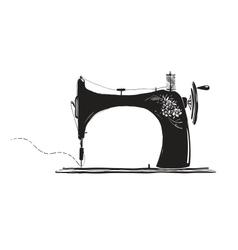 Vintage sewing machine inky vector