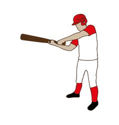 silhouette color of baseball player with baseball vector image