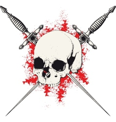 Skull and Dagger red vector image