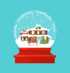 snow globe with a small vector image vector image