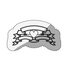 sticker silhouette with set labels and heart vector image