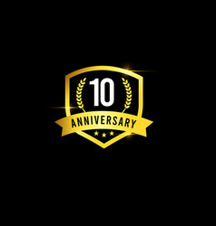 10 years anniversary gold emblem old design logo vector