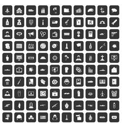 100 war icons set black vector image