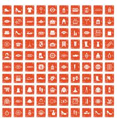 100 woman shopping icons set grunge orange vector image