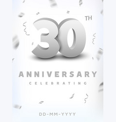 30 years silver number anniversary celebration vector image