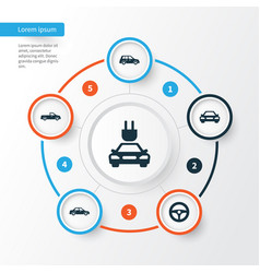 Automobile icons set collection plug carriage vector