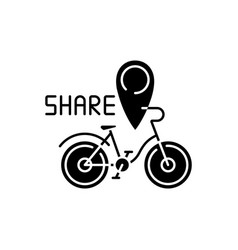 Bicycle sharing system black glyph icon vector