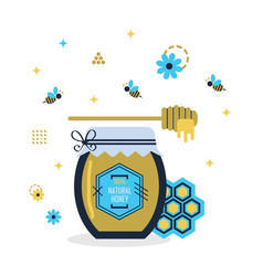 blue and golden hundred percent natural honey jar vector image