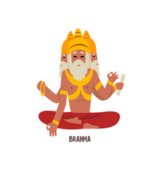 Brahma indian god cartoon character vector