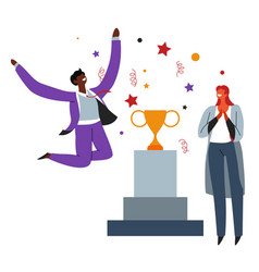 business success celebration people and prize on vector image