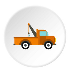 car tow truck icon circle vector image