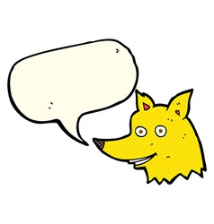 cartoon fox head with speech bubble vector image