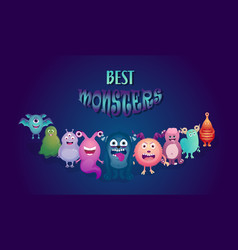 cartoon monster set halloween monsters vector image