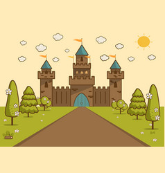 cartoon of tale castle on hill landscape vector image