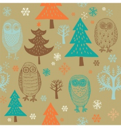 Christmas forest with owl vector