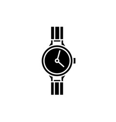 chronometer black icon sign on isolated vector image