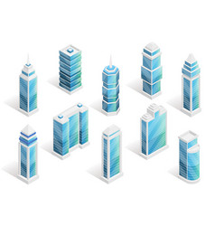 City houses isometric set vector