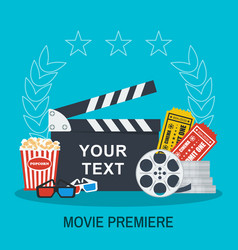 Clapboard popcorn and tickets movie making and vector