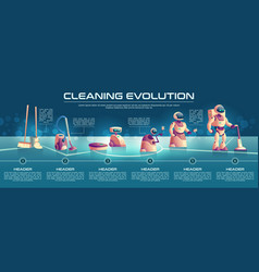 Cleaning robots evolution cartoon concept vector
