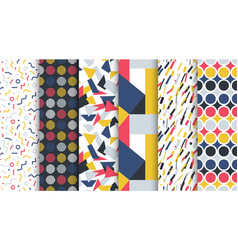 collection trendy seamless colorful patterns vector image