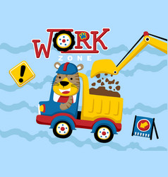 Construction equipment cartoon with funny driver vector