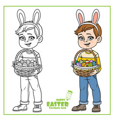 cute boy in rabbit ears and with baskets of vector image