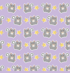 cute cat with coffee kawaii characters pattern vector image