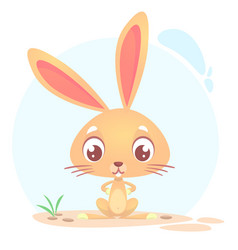 Cute funny cartoon rabbit or bunny vector