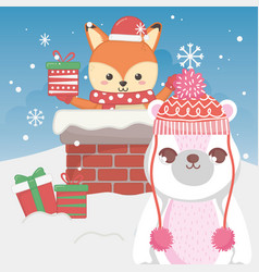 cute polar bear and fox with gift in chimney vector image
