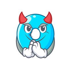 Devil cartoon the number zero color blue vector