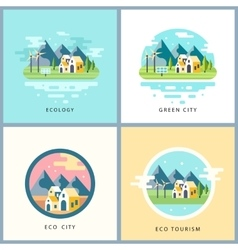 Eco city set Alternative energy concept vector