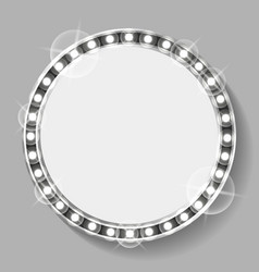 empty circle banner with silver bulbs sparkling vector image