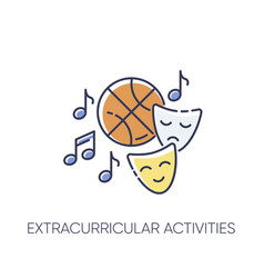 Extracurricular activities rgb color icon vector