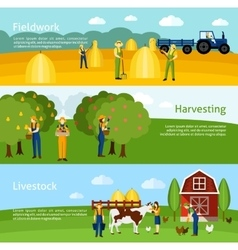Farming 3 flat horizontal banners set vector