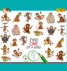 Find one a kind with monkey characters vector