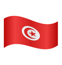 Flag of tunisia waving on white background vector
