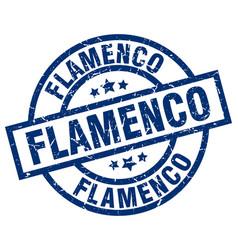 Flamenco blue round grunge stamp vector