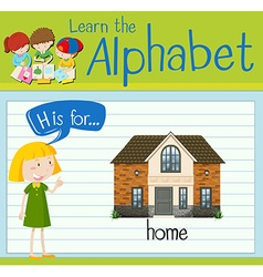 Flashcard letter H is for home vector
