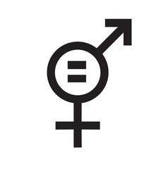 Flat black icon feminism women equality vector