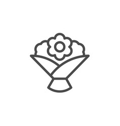 Flower bouquet line outline icon vector