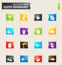 Food and kitchen bookmark icons vector