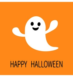 Funny flying ghost Smiling face Happy Halloween vector