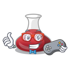 Gamer wine decanter on the table cartoon vector