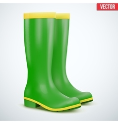 Green garden rubber high boots vector