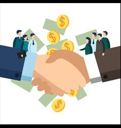 handshake of business team workers vector image