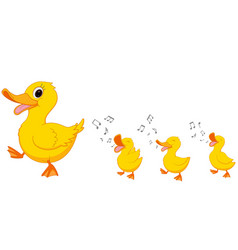 Happy duck family cartoon vector