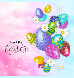 happy easter card design holiday background vector image