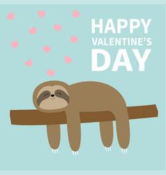 happy valentines day sloth sleeping on tree vector image