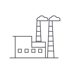 industrial building thin line icon concept vector image